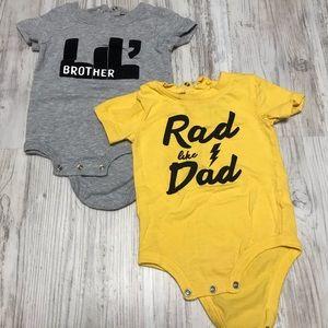 💙 Baby Boy 💙 3-6mo Graphic Tee Onesie Lot (2)